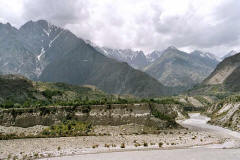 Left, a portion of the old Silk Road at Chalt, right, KKH